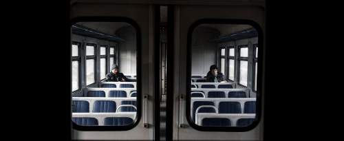 Dans un train ukrainien.