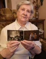 Janina Iwanska et les photos avec ses amies déportées du camp d'Auschwitz-Birkenau. À gauche, juste après leur libération en 1945.