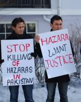 Manifestation de la diaspora hazara de Norvège contre la violence au Pakistan, devant l'ambassade du Pakistan à Oslo, le 28 février 2009.