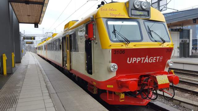 Un train Transdev à Uppsala.