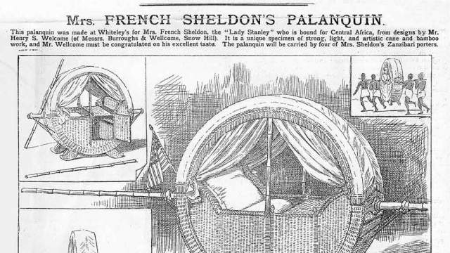 Le palanquin de l'exploratrice et actrice américaine May French Sheldon (1847-1936
