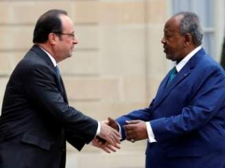 EM Image: French President Francois Hollande meets with Djibouti's President Ismail Omar Guelleh at the Elysee Palace in Paris